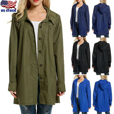 Womens Long Sleeve Waterproof Hooded Raincoat Windbreak Outdoor Slim Jacket Coat