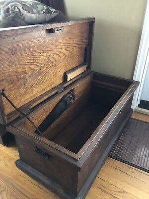 Vtg Primative Large Wood Old Antique Tool Box Case Chest Lock Trunk d18