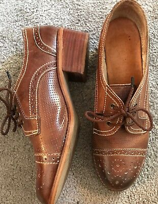 Vintage Leather Shoes 1940s Style Wartime. 6.5 (40) Made In Portugal