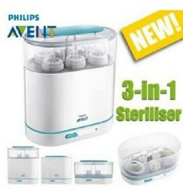 Philips Avent 3-in-1 Electric Steam Sterilizer BPA-Free Baby Bottle Cleaner NEW