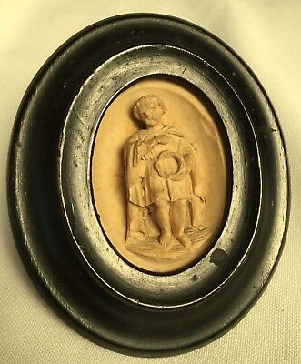 Plaster Intaglio Miniature ANTIQUE RELIQUARY MEMENTO FRAME Saint Grand Tour