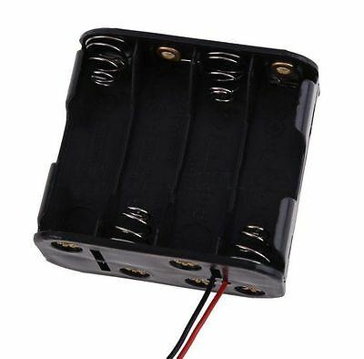 8x AA Size Cell Battery Clip Holder Storage Box 12V Case With Wire Lead/v