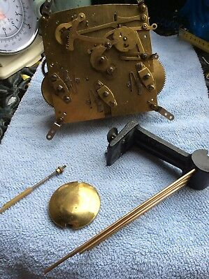Vintage Westminster Clock Parts, Mechanism, Pendulum, Chime For Spare And Repair
