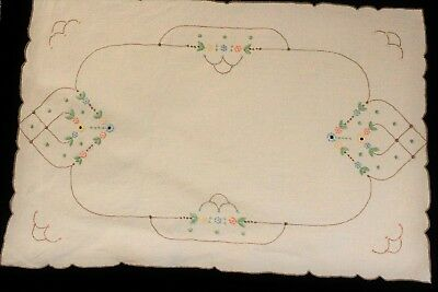 Vintage cream linen with embroidered flowers tray cloth.