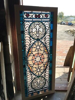 "SG 2564 antique stained glass jeweled landing window 23 5/8"" x 56.75"