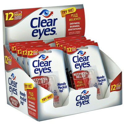 12 Pack of CLEAR EYES Drops REDNESS RELIEF 0.2oz 6 ml Upto 12 Hour - EXP 2020