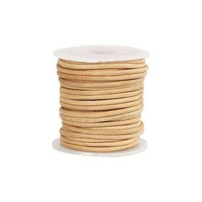 Leather Cord, thickness 2 mm, natural, 10m [HOB-51555]