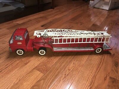 1960's Tonka Hook & Ladder TFD Fire Truck and Trailer Hydraulic Aerial Vintage