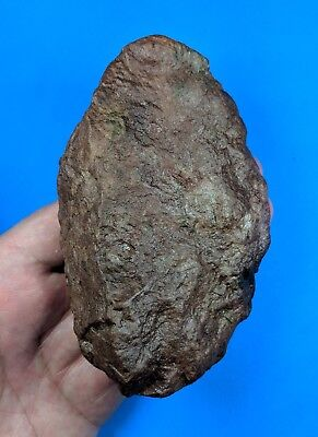Early Acheulian, Red Basalt Hand Axe on a Split Ovate Cobble c600,000 BP