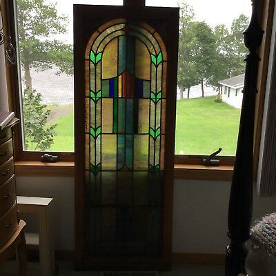Vintage  Stained Glass Church Window Beautiful Bold Colors