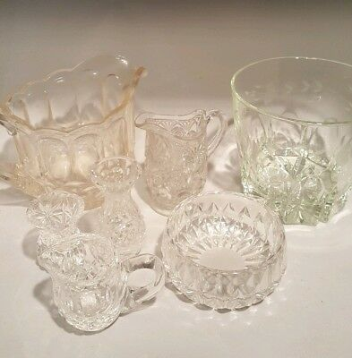 Fine Antique AMERICAN BRILLIANT Cut Crystal big & Sm Individual pieces lot of 7!