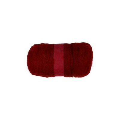 Carded Wool, warm red, 100g [HOB-451870]