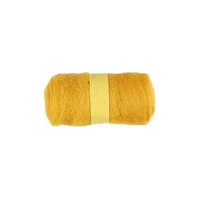 Carded Wool, yellow, 100g [HOB-451770]