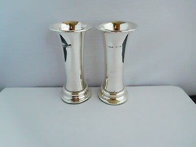 Nice Pair Of Antique English Sterling Silver Column Posy Vases
