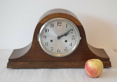 ENFIELD  STRIKING MANTEL CLOCK. 1950 Working SUPERB Wooden Clock Silver Face