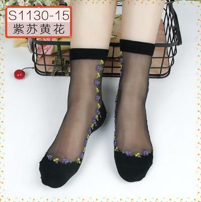New Women Black Rose Flower Lace Crystal Glass Silk Short Thin Transparent Socks