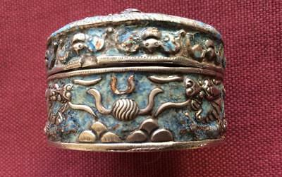 Antique Chinese Hallmarked Silver and Enamel Box with Dragons