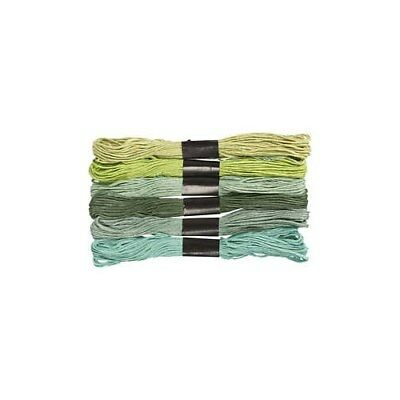 Embroidery Floss, thickness 1 mm, green harmony, 6bundles [HOB-412740]