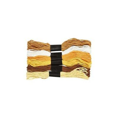 Embroidery Floss, thickness 1 mm, golden harmony, 6bundles [HOB-412700]