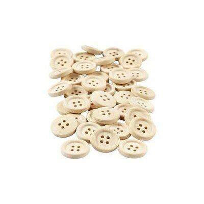 Wooden Buttons, D: 18 mm, with four holes, 40pcs [HOB-403061]