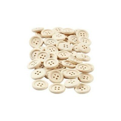Wooden Buttons, D: 15 mm, with four holes, 50pcs [HOB-403041]