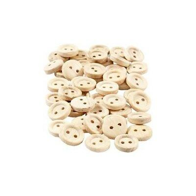 Wooden Buttons, D: 11 mm, with two holes, 50pcs [HOB-403021]