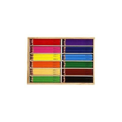 Colouring Pencils, lead: 5 mm, asstd colours, Jumbo, 144pcs [HOB-38083]