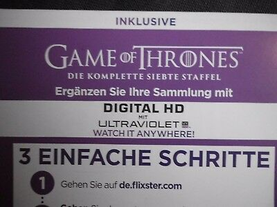 SERIE Game Of Thrones DIE KOMP. siebte Staffel 7 Season Flixter ULTRAVIOLET Code