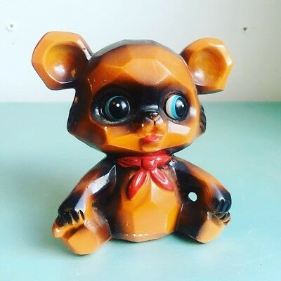 Vintage Ceramic Bear Cub Coin Bank Big Eyes Japan