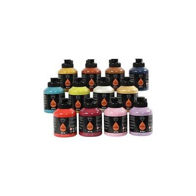 Pigment Art School Paint, additional colours, 12x500ml [HOB-35479]