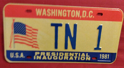 1981 District Of Columbia Tn-1 Tennessee Inaugural License Plate
