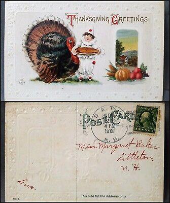 1911 Antique Vtg M132 J Herman Thanksgiving Postcard Turkey Child Clown Embossed