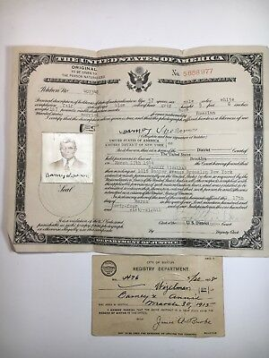United States Certificate Of Naturalization 1944 Brooklyn New York Resident