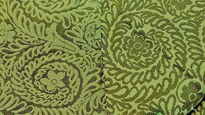 """Vtg 1960s Green Damask Curtain Upholstery Fabric 54"""" W Flowers Spirals NOS BTY"""