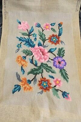 TRUE VINTAGE COMPLETED NEEDLEPOINT TAPESTRY 'QUEEN ANNE' BY Langham