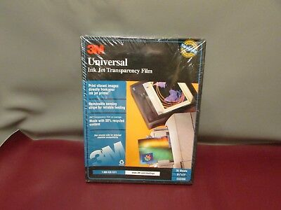 """3M Universal Ink Jet Transparency Film CG3480 8-1/2""""x11"""" 35 Sheets New Sealed"""