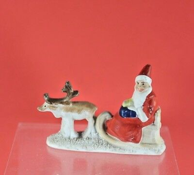Antique German Bisque Snow Baby Santa Claus in Sleigh with Reindeer Christmas
