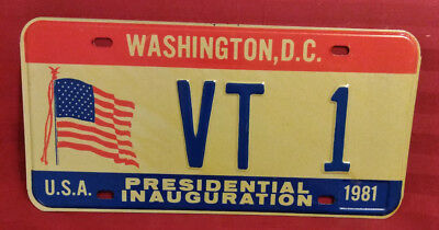 1981 District Of Columbia Vt-1 Vermont Inaugural License Plate