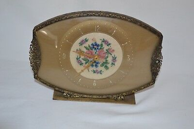 gorgeous vintage clock. brass filligree & petit point.convex glass face. working