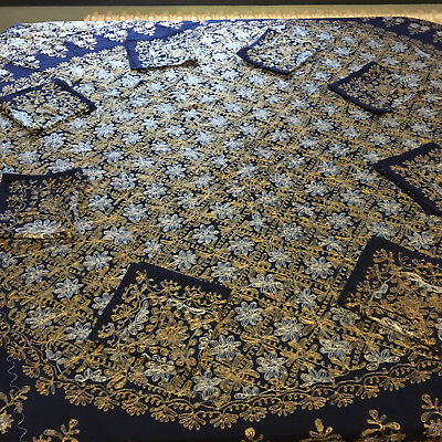 Beautiful round table cloth + napkins - deep blue with silver + gold stitching
