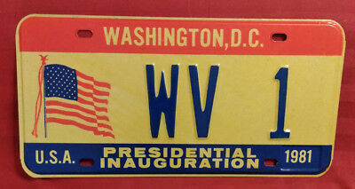1981 District Of Columbia Wv-1 West Virginia Inaugural License Plate