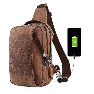 Sling Backpack Reflective Anti Theft Canvas Bag Crossbody Shoulder USB Rucksack