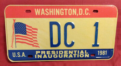 1981 District Of Columbia Dc-1 District Of Columbia Inaugural License Plate