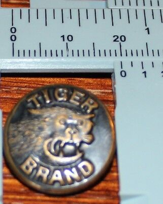 TIGER BRAND Brass Overall / Work Clothes BUTTON Vintage