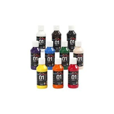 A-Color Acrylic Paint, asstd colours, 01 - glossy, 10x100ml [HOB-32001]