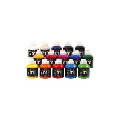 A-Color Acrylic Paint, asstd colours, 01 - glossy, 15x500ml [HOB-32000]