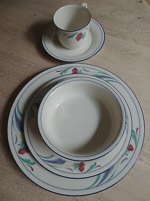Lenox China Poppies On Blue Chinastone 5 Piece Place Setting. Flash Sale!