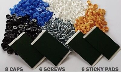 Number Plate Fitting Kit - Screws Caps + Sticky Pads Licence Plate Install Blue