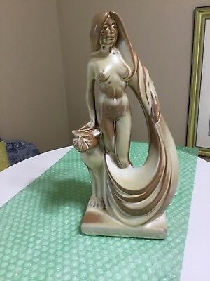 Frankoma Nude Lady W Puma  Desert Gold 11' Tall base 4.5 Signed Gerald Smith