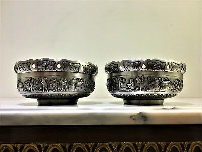antique pair of persian islamic burmese middle eastern white metal bowls # 286 g